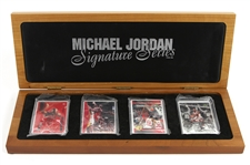 1992-95 Michael Jordan Chicago Bulls Upper Deck Limited Edition Trading Cards - Lot of 4 w/ 1 Signed & Display Case (Upper Deck Hologram)