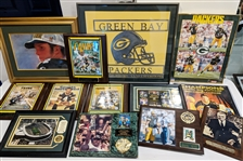 1990s-2000s Green Bay Packers Framed Photos, Plaques, Pins and more (Lot of 70)