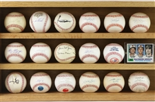 1982-1999 Baseball Memorabilia Including Autographed Baseballs, Facsimile Baseball, and Trading Cards (Lot of 17)(JSA)