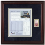 "1990 Nolan Ryan Texas Rangers 300th Major League Victory 21""x 21"" Framed Certificate of Authenticity & Ticket Stub"