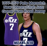 1977-1979 Pete Maravich New Orleans/Utah Jazz Game Worn Road Jersey (MEARS A10)