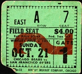 1951 Chicago Bears vs San Francisco 49ers Wrigley Field Ticket