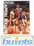 1974 Capital Bullets NBA Playoffs Official Game Program & Baltimore Bullets Bumper Sticker