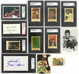 1950s-2000s Floyd Patterson World Heavyweight Champion Memorabilia Collection- Lot of 12 w/ SGC Slabbed Signed Index Card & Cut, SGC Slabbed Trading Cards & More