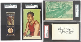 1930s-50s Jack Sharkey World Heavyweight Champion Memorabilia Collection - Lot of 4 w/ SGC Slabbed Signed Index Card, Postcard, Match Book & More