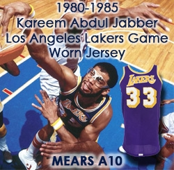be855c3501f 1980-85 Kareem Abdul Jabbar Los Angeles Lakers Game Worn Road Jersey (MEARS  A10