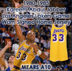 3ae39ed38 1980-85 Kareem Abdul Jabbar Los Angeles Lakers Signed Game Worn Home Jersey  (MEARS. Touch to zoom