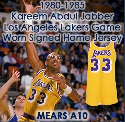 8c16ce87050 1980-85 Kareem Abdul Jabbar Los Angeles Lakers Signed Game Worn Home Jersey  (MEARS