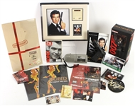 1990s-2000s James Bond Memorabilia Collection - Lot of 20 w/ MIB Action Figure, Replica Pistol, Adverts, Pinbacks, Trading Cards & More