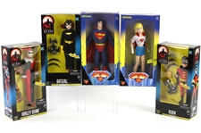 "1998 New Batman Adventures & Superman MIB 12"" Action Figures - Lot of 6 w/ Superman, Supergirl, Batgirl, Robin & Harley Quinn"