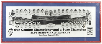 "1929 Chicago Cubs 10"" x 25"" Framed Blue Ribbon Malt Extract Reprint Broadside"