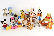 2000s Disney Classics Stuffed Bean Toy Collection - Lot of 17 w/ Mickey Mouse, Minnie Mouse, Pinocchio, Dumbo, Goofy, Pluto, Winnie The Pooh, Tigger, Jiminy Cricket & More