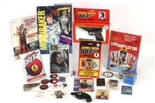 1970s-80s James Bond Memorabilia Collection - Lot of 48 w/ Posters, MIB Moonraker Mego Action Figure, Publications, Unopened Moonraker Trading Cards & Moire
