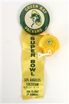 "1967 Green Bay Packers Super Bowl I Los Angeles Coliseum 2 1/4"" Pinback Button w/ Ribbon & Helmet Charm"