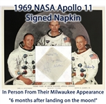 1969 Neil Armstrong Buzz Aldrin Michael Collins Apollo 11 Signed Napkin & Auto Pen Photo - Lot of 2 (*Full JSA Letter*)