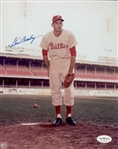 1959-60 Gene Conley Philadelphia Phillies Autographed 8x10 Color Photo *JSA*