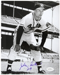 1957-61 John DeMerit Milwaukee Braves Autographed 8x10 B/W Photo *JSA*