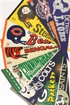 1960s-90s Football Full Size Pennant Collection - Lot of 55 w/ Baltimore Colts, Randall Cunningham, Super Bowls, Toronto Argonauts & More