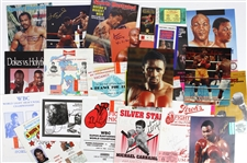 1970s-90s Boxing Memorabilia Collection - Lot of 24 w/ Program Covers, Ticket Stubs & Signed Photos/Program Covers (JSA)