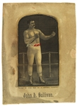 "1880s-90s John L. Sullivan World Heavyweight Champion 4.25"" x 6.75"" Matted Silk Weaving"