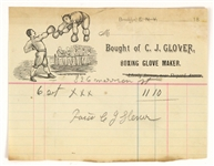 1910s CJ Glover Boxing Glove Maker Sales Receipt