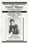 1991 Mickey Rourke Professional Boxing Debut Fight Program
