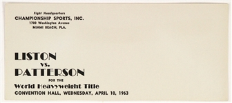 1963 Sonny Liston Floyd Patterson World Heavyweight Title Bout Promotional Envelope