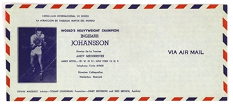 1959-60 Ingemar Johansson World Heavyweight Champion Promotional Envelope