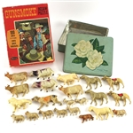 1960s-70s Western Toy Collection - Lot of 23 w/ Gunsmoke Whitman Jigsaw Puzzle & Toy Animal Array