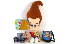 "2001 Jimmy Neutron Boy Genius Toy Collection - Lot of 4 w/ 36"" Stuffed Cuddle Pillow, Radio Controlled K9 Goddard & More"