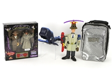 1998-2006 Movie Toy Collection - Lot of 4 w/ MIB Rick/Ilsa Casablanca Action Figures, Inspector Gadget Action Figure, Hellboy Travel Cooler & More