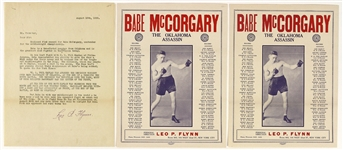 1928 Babe McCorgary The Oklahoma Assassin Promotional Material - Lot of 3 w/ 2 Promo Sheets & Manager Letter