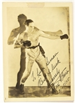 "1935 Max Baer World Heavyweight Champion Signed & Inscribed 5"" x 7"" Photo (JSA)"