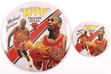 "1988 Michael Jordan Chicago Bulls MVP 3"" and 6"" Pinback Buttons"