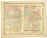 "1855 City of Chicago City of St. Louis 14"" x 17.5"" GW & CB Colton Map"