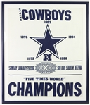 "1996 Dallas Cowboys Super Bowl XXX Five Time World Champions 32"" x 37"" Framed Flag"
