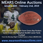 2002 (October 7) Brett Favre Green Bay Packers Signed ONFL Tagliabue Game Used Football (MEARS LOA/JSA) 40,000 Career Yards