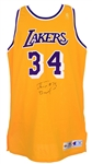 1996-97 Shaquille ONeal Los Angeles Lakers Signed Game Worn Home Jersey (MEARS A10/JSA/Team Letter)