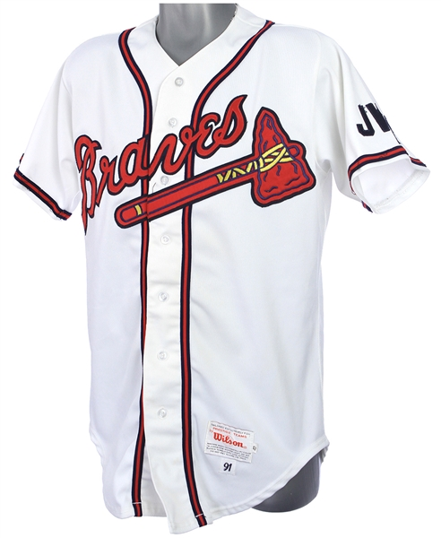 1991 Brian Hunter Atlanta Braves Game Worn Home Jersey (MEARS LOA)