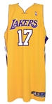 2005-06 Andrew Bynum Los Angeles Lakers Signed Game Worn Home Jersey (MEARS LOA/JSA)