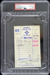 1973 Jim Wilson Milwaukee Braves Signed Milwaukee Athletic Club Receipt (PSA/DNA Slabbed)