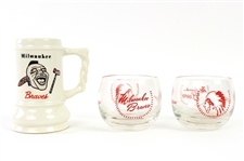 "1950s Milwaukee Braves ""Squaw"" Candle Holders (2) & 4"" Ceramic Mug"