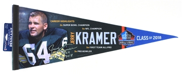 "1958-1968 Jerry Kramer Green Bay Packers Hall of Fame 30"" Pennant"