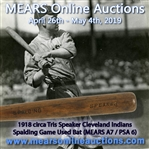 1918 RARE Tris Speaker Cleveland Indians Spalding Professional Model Game Used Bat (MEARS A7 & PSA/DNA GU6)