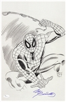 1990s Joe Sinnott Spiderman Dark Pencil Sketch Signed 11x17 B&W Print (JSA)