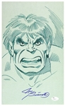 1990s Joe Sinnott Incredible Hulk Pencil Convention Sketch Signed 11x17 Print (JSA)