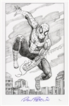 1990s Don Perlin Spiderman Pencil Sketch Signed 11x17 Print (JSA)