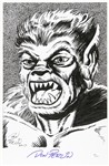 1990s circa Don Perlin Werewolf By Night Ink Commission Sketch Signed 11x17 Print (JSA)