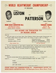 "1963 Sonny Liston vs Floyd Patterson Ring Ticket Form 8""x10"" Broadside"