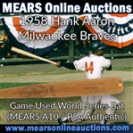1958 Hank Aaron Milwaukee Braves H&B Louisville Slugger Professional Model World Series Game Used Bat (MEARS A10)
